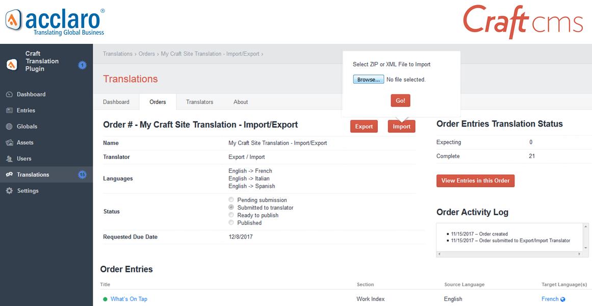 Translation Plugin for Craft